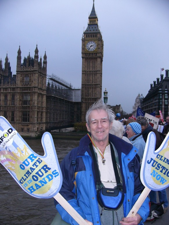 CAFOD Volunteer campaigning at Westminster