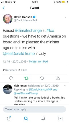 MP David Hanson's tweet on climate change